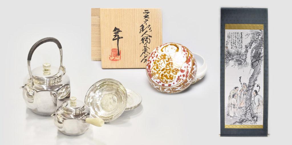 骨董品の買取例、銀瓶、茶道具、掛軸